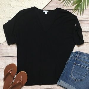 3/$30 J Jill Black Short Sleeve Sweater Top Size S